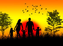 Family enjoy sunset. In the nature royalty free illustration