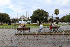 Family enjoy time in Sultan Ahmed Mosque square. Royalty Free Stock Photos