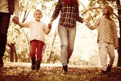 Family enjoying in autumn day. Close up. Family walking trough park and holding hands. Close up stock images