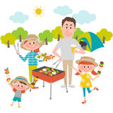 Family enjoying barbecue outdoors. Illustration of family enjoying barbecue outdoors royalty free illustration