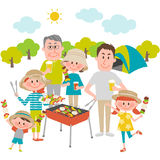 Family enjoying barbecue outdoors. Illustration of family enjoying barbecue outdoors stock illustration