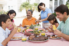 Family Enjoying A Barbeque. A Family Enjoying A Barbeque Royalty Free Stock Images