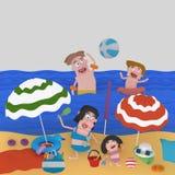 Family enjoying at beach Stock Image
