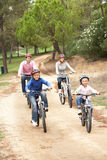 Family enjoying bike ride in park Royalty Free Stock Images