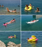 Family enjoying in blue sea (collage) Stock Photography