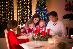 Family enjoying Christmas dinner at home Royalty Free Stock Photography
