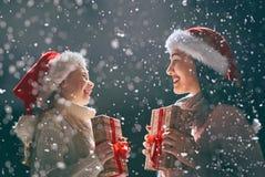 Family enjoying Christmas Royalty Free Stock Photos