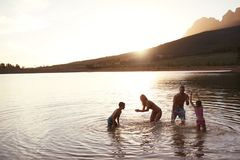 Family Enjoying Evening Swim In Countryside Lake royalty free stock photography