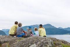 Family enjoying fjord view Royalty Free Stock Photo