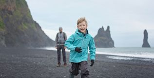 Family enjoying iceland royalty free stock photo