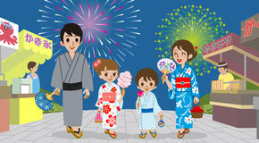Family enjoying Japanese Firework Display. Vector illustration of Family enjoying Japanese Firework Display Royalty Free Stock Photo