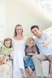 Family enjoying a movie Stock Photo