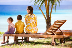 Family enjoying ocean view Stock Images