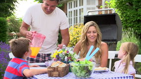 Family Enjoying Outdoor Barbeque In Garden stock footage