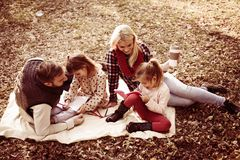 Family class in nature. Family enjoying in park. From above stock photo