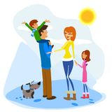 Family Enjoying a Winter Day Stock Photography