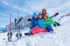Family enjoying winter vacations Stock Photo