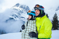 Family enjoying winter vacations. Royalty Free Stock Images