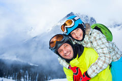 Family enjoying winter vacations. Royalty Free Stock Photo
