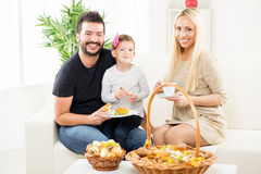 The Family Enjoys In Bakery Products Royalty Free Stock Photos