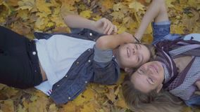 Family enjoys the leisure in the autumn forest stock footage