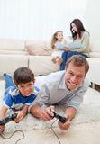 Family enjoys spending their spare time together Stock Photo