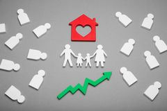 Family estate rise, home property growth concept stock photo