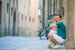 Happy father and little adorable girl in Rome during summer italian vacation royalty free stock photography