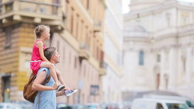 Family in Europe. Happy father and little adorable girl in Rome during summer italian vacation stock footage