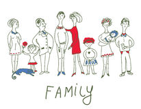 Family event - funny sketch illustration Royalty Free Stock Image