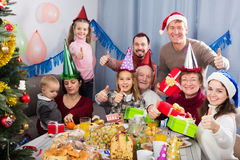 Family exchanging Christmas gifts Royalty Free Stock Photography