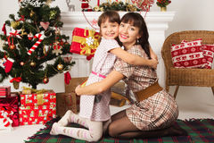 Family exchanging gifts at Christmas Royalty Free Stock Image