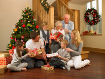 Family exchanging gifts in front of Christmas tree. Having fun royalty free stock photography