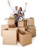 Family excited about moving Royalty Free Stock Photo
