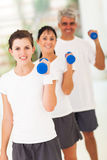Family exercising dumbbells Stock Images