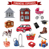 Family Expenses Flat Icons Collection Stock Photo
