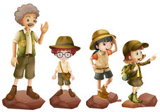 A family of explorers. Illustration of a family of explorers on a white background Royalty Free Stock Photos