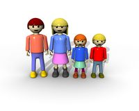 Family face camera. 3d render of family toghether represented by toys Royalty Free Stock Images