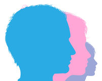 Family face silhouette Stock Images