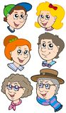 Family faces collection stock illustration