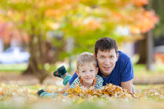 Family at fall Stock Photo
