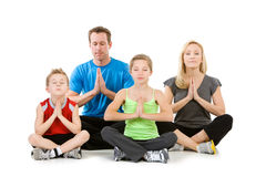 Family: Family Meditating Together Stock Photos