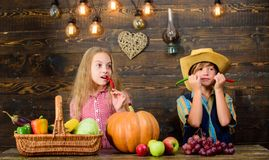 Family farm. Children presenting farm harvest wooden background. Reasons why every child should experience farming. Farm. Market. Siblings having fun. Kids stock photos