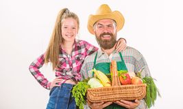 Family farm organic vegetables. Man bearded rustic farmer with kid. Father farmer or gardener with daughter hold basket royalty free stock photos