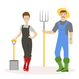 Family of farmers. Man in green rubber boots, a straw hat and with pitchforks in his hands. Woman in red rubber boots. And with a shovel in her hands. Vector Royalty Free Stock Photo