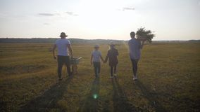 Family farmers are walking along the field at sunset, carrying box with fresh vegetables and tools for farming. Organic stock video