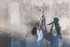 Family fashion casual outfit for mom and kid Stock Photo