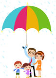 Family Father with a Big Umbrella Stock Photography