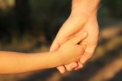 Family father and child son hands nature outdoor. Family father and child son hands nature evening summer outdoor Royalty Free Stock Image