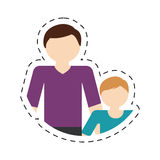 Family father child son togetherness cut line. Illustration eps 10 Stock Photography